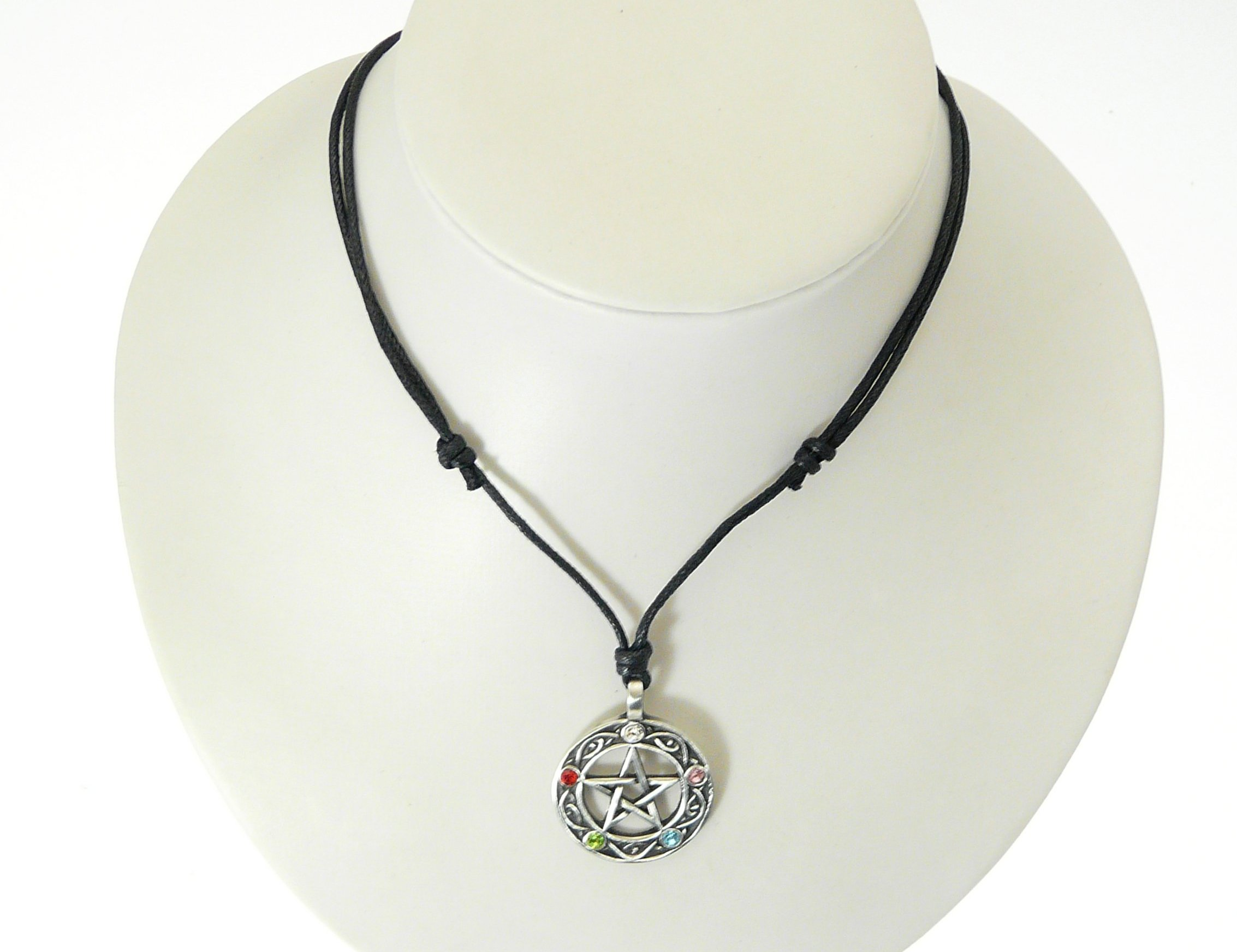 Popular Wiccan Pewter Druids Tree Pendant On Adjustable Black Cord  EG39